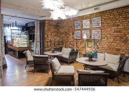 Interior Restaurant Brick Wall Modern Design Stockfoto (Jetzt ...
