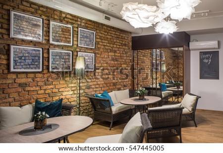 interior restaurant brick wall modern design stock photo edit now rh shutterstock com