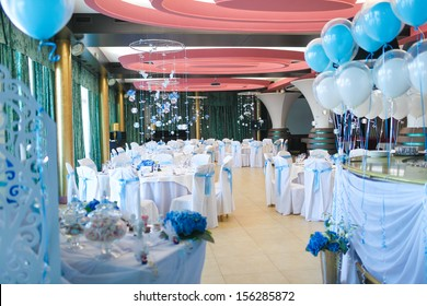 Interior of the restaurant, decorated for the holiday