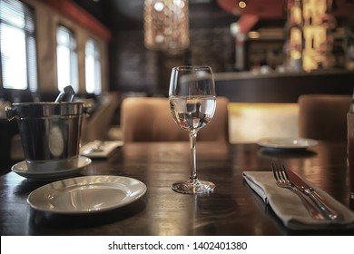 interior restaurant tableware / cutlery and tableware on a table in a cafe, beautiful catering industry