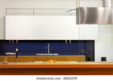 Interior of retro kitchen with wooden counter