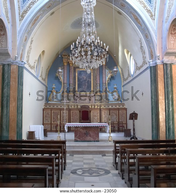 Interior of the Roman Catholic Cathedral of St John the Baptist, Fira, Crete.