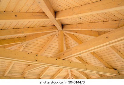 Interior roof beams on a wooden structure