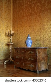 Interior room and baroque furniture in the Stadtschloss (Residence Palace) in Fulda, Germany