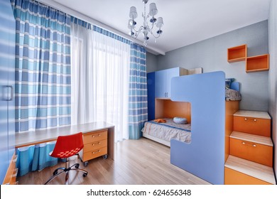 Interior room for a boy with bunk beds.