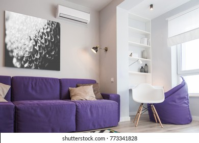 Interior of the room in color of the year 2018, ultra violet pantone