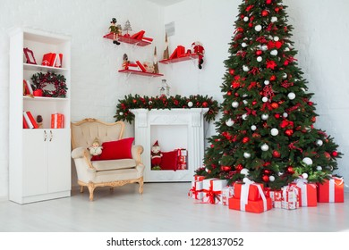 Interior room decorated in Christmas style. No people. Home comfort of modern house. Xmas tree and fireplace