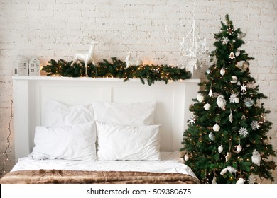 Interior room decorated in Christmas style.