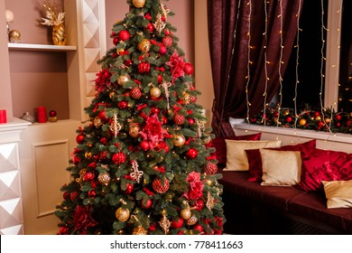 Interior room decorated in Christmas style