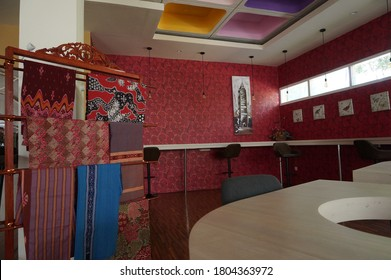 the interior of the room with a display of batik cloth is very interesting, the location is Sch, Jalan Darmo, Surabaya, East Java, Indonesia (surabaya, september 9 2019)