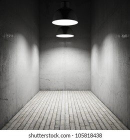 Interior room illuminated by lamps made of concrete