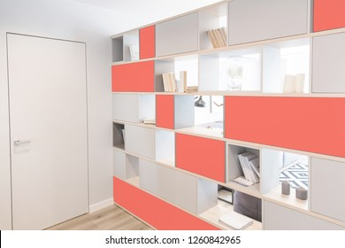 Interior of the room in light colors. Delimitation of space. Hallway