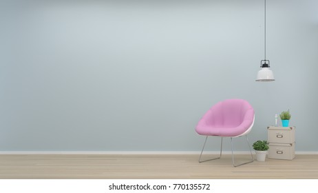Interior room, pink armchair and lamp In front of the wall in empty room,vases in the living room,interior background,3D rendering
