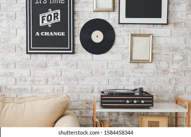 Interior of room with record player