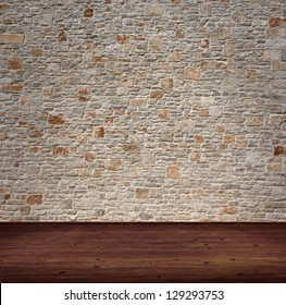 interior room with stone wall