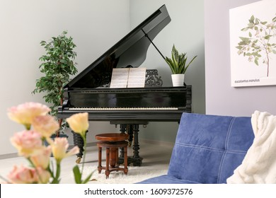 Interior of room with stylish grand piano