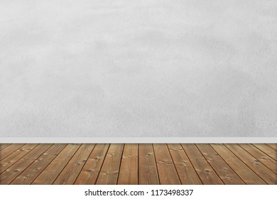 Interior room with wooden floor and cement plaster wall