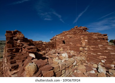 Interior of rooms of Lomaki Pueblo ruin at Wupatki National Monument in northern Arizona