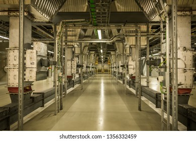 The interior of the Roskilde Power Plant with electrical installations and pipes,  a waste-to-energy factory in Denmark, March 21, 2019