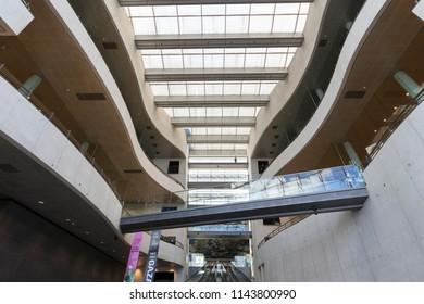 Interior of the Royal Library (Det Kongelige Bibliotek), Copenhagen, Denmark - 23 Jun 2018: It is the national library of Denmark and the university library of the University of Copenhagen.