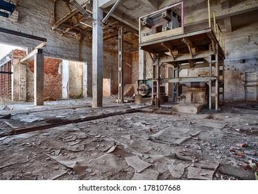 Interior of a ruined brick factory