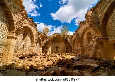 The interior of ruined church St Nicholas in Mavrovo village next to Mavrovo lake, Macedonia