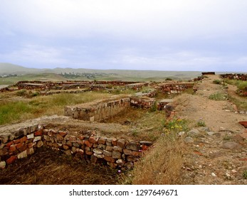 Interior ruins of the buildings of the ancient urartian fortress Erebuni, one of the oldest strongholds in the world, it founded in 782 BC, Yerevan, Armenia