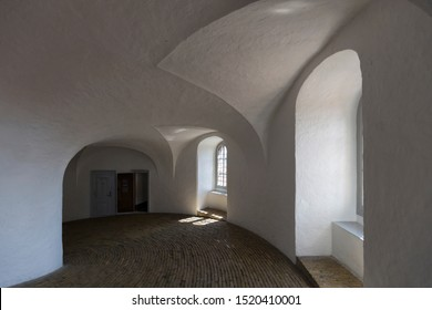 Interior of Rundetaarn, Copenhagen, Denmark - 24 Jun 2018: The Round Tower (Rundetaarn) is a 17th-century tower located in central Copenhagen.