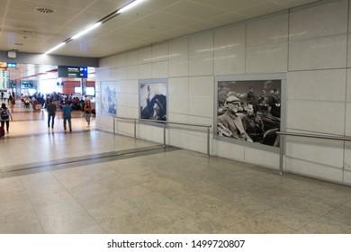 Interior of the Sabiha Gokcen International Airport (SAW). September 6, 2019 in Istanbul, Turkey. (Modern Turkey's founder Ataturk and the world's first female combat pilot Sabiha Gokcen photos)