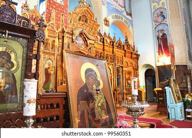 Interior of Saint Trinity Orthodox Convent in Riga, Latvia including Icon of Madonna Mother of God (Mary) and child (Jesus Christ).