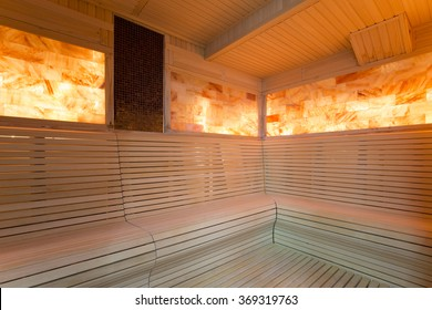 Interior of a salt room at spa center