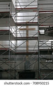 Interior scaffolding in a church being renovated