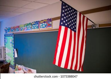 Interior School Classroom Chalkboard with Flag
