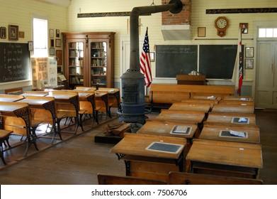 Interior of school house from the 1800's; Old Town Sacramento; Sacramento, California