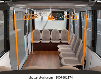 Interior of self-driving shuttle bus waiting at bus station. 3D rendering image.