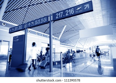 Interior of the shanghai airport,modern building concept.
