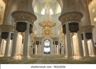 The interior of Sheikh Zayed Grand Mosque in Abu Dhabi.