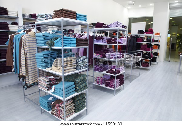Interior of shop of clothes