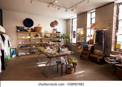 Interior of a shop selling clothes and accessories