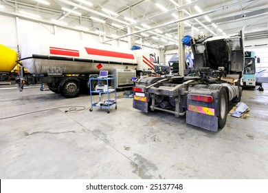 Interior shot of big truck service garage