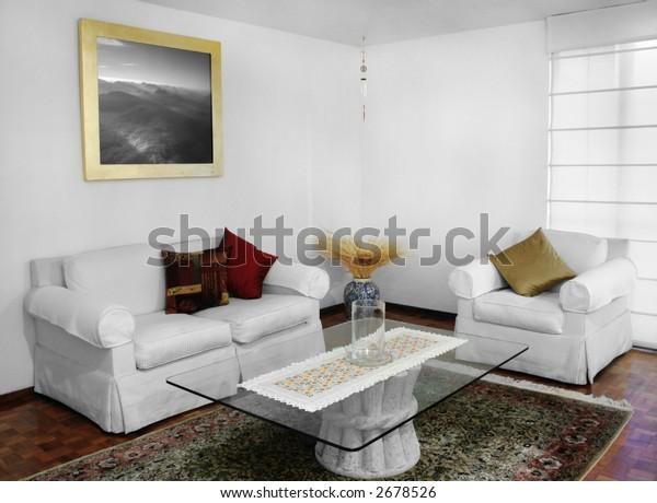Interior shot of a comfy living room