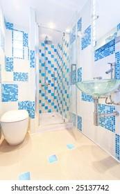 Interior shot of modern and new blue bathroom