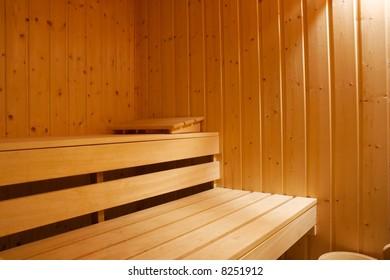 Interior shot of a sauna