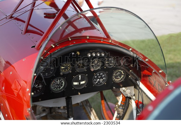 Interior shot of vintage aircraft cockpit
