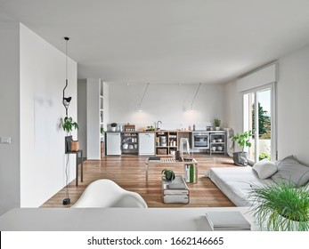 interior shots of a modern living room  in foreground the sofas in background the kitchen the floorin in made of wood