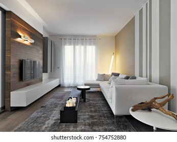 interior shots of a modern living room in the foreground of the white fabric sofa and the carpet, in front of the sofa there is the TV hanging on the wall