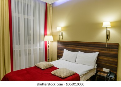 Interior of the single room in a hotel.
