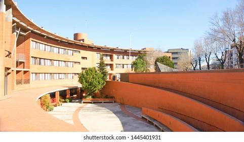 Interior of singular building in the neighborhood of la teixonera in Barcelona, Catalunya, Spain, Europe