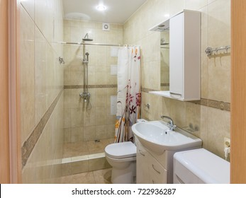 Interior of a small combined bathroom