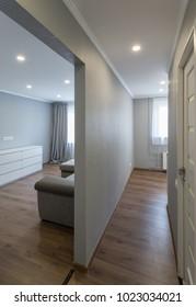 Interior of small modern flat.